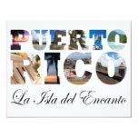 """Puerto Rico La Isla Del Encanto Collage/montaje Invitación 4.25"""" X 5.5"""""""
