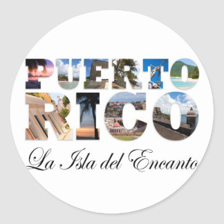 Puerto Rico La Isla Del Encanto Montage Classic Round Sticker