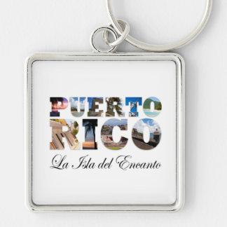 Puerto Rico La Isla Del Encanto Montage Llavero Cuadrado Plateado