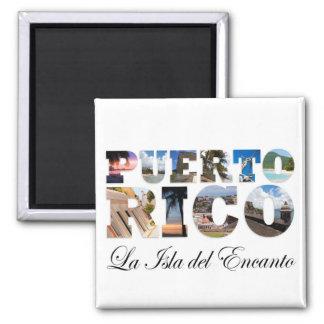 Puerto Rico La Isla Del Encanto Montage 2 Inch Square Magnet