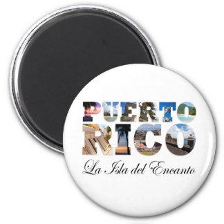 Puerto Rico La Isla Del Encanto Montage 2 Inch Round Magnet