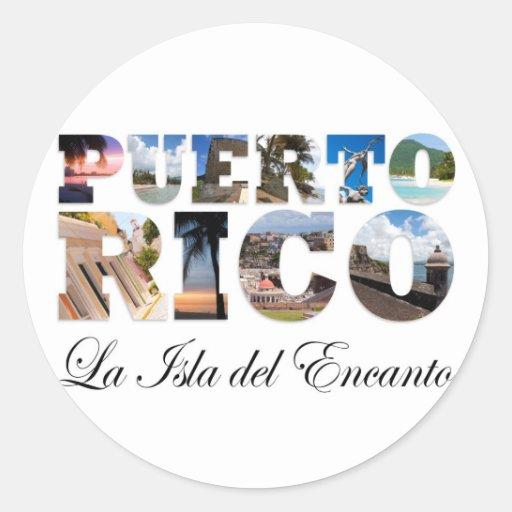 Puerto Rico La Isla Del Encanto Montage Pegatina Redonda