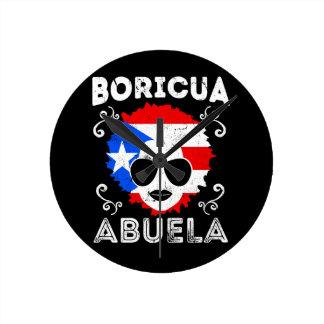 Puerto Rico Ladies Abuela Grandma Flag Mothers Day Round Clock