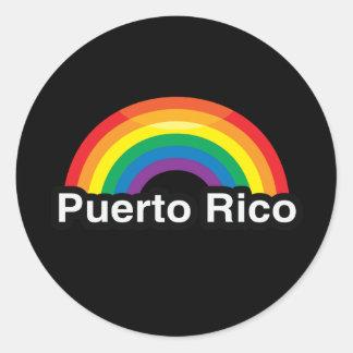 PUERTO RICO LGBT PRIDE RAINBOW ROUND STICKERS
