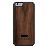 Puerto Rico Map Carved® Walnut iPhone 6 Bumper