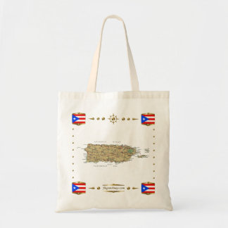 Puerto Rico Map + Flags Bag