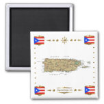 Puerto Rico Map + Flags Magnet