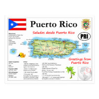 Puerto Rico Map Postcard
