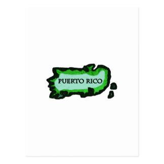 Puerto Rico Map (Vintage) Postcard