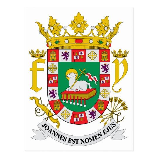 Puerto Rico Official Coat Of Arms Heraldry Symbol Postcard