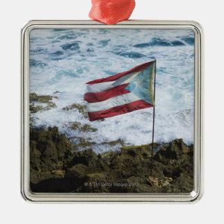 Puerto Rico, Old San Juan, flag of Puerto rice Square Metal Christmas Ornament
