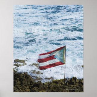 Puerto Rico, Old San Juan, flag of Puerto rice Poster