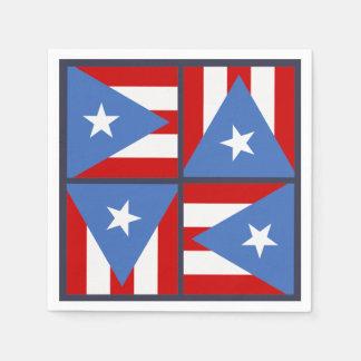 Puerto Rico Party Theme: Bold Flag Square Pattern Paper Napkin