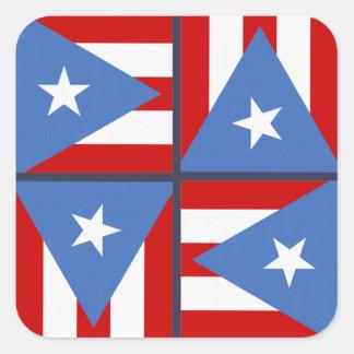 Puerto Rico Party Theme: Bold Flag Square Pattern Square Sticker