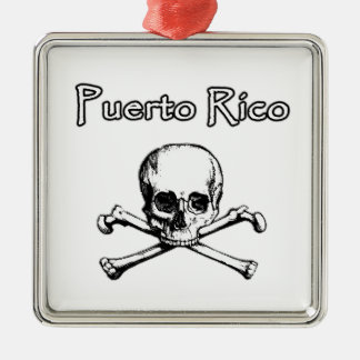 Puerto Rico Pirates (Jolly Roger Logo) Square Metal Christmas Ornament