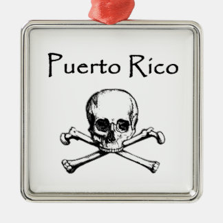 Puerto Rico Pirates Logo (Jolly Roger) Square Metal Christmas Ornament