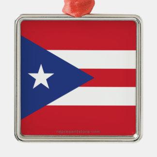Puerto Rico Plain Flag Ornaments