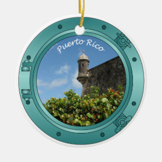 Puerto Rico Porthole Ceramic Ornament