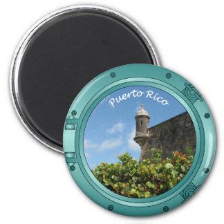 Puerto Rico Porthole 2 Inch Round Magnet