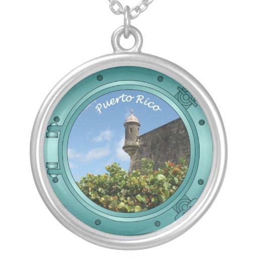 Puerto Rico Porthole Round Pendant Necklace