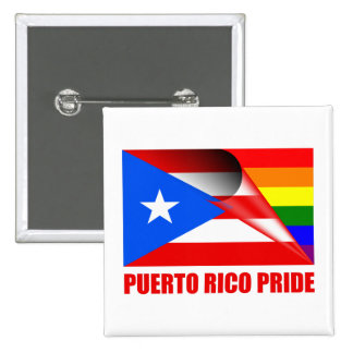 Puerto Rico Pride LGBT Rainbow Flag Button