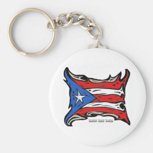 Puerto Rico Reggaeton Flag Keychain
