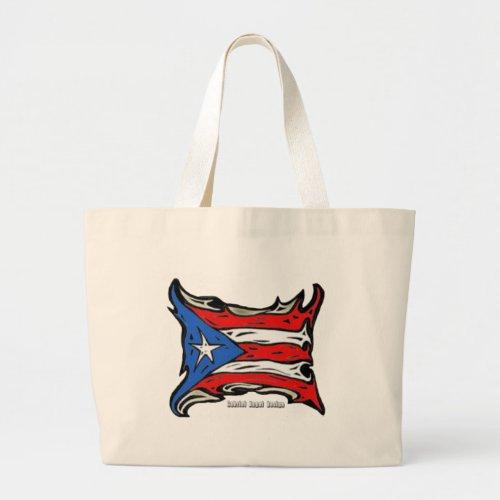 Puerto Rico Reggaeton Flag Large Tote Bag