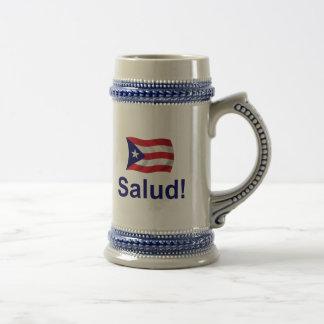 ¡Puerto Rico Salud! Jarra De Cerveza