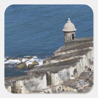Puerto Rico, San Juan viejo, sección del EL Morro Pegatina Cuadrada