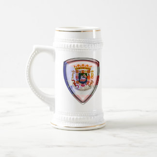 Puerto Rico - Seal on Shield 18 Oz Beer Stein