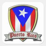 Puerto Rico - Shield2 Calcomania Cuadradas Personalizada