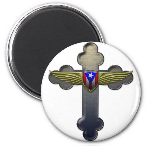 Puerto Rico - Shield & Cross 2 Inch Round Magnet