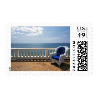 Puerto Rico. Silla de mimbre y terraza tejada en Sellos Postales
