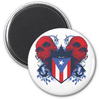 Puerto Rico Skulls 2 Inch Round Magnet