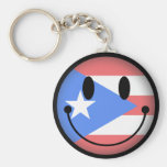 Puerto Rico Smiley Keychains
