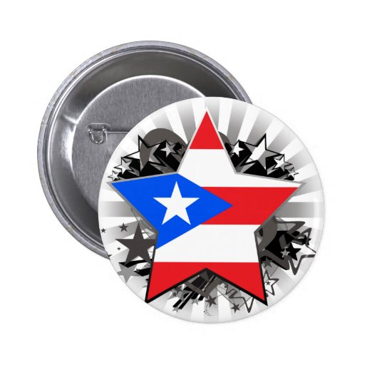 Puerto Rico Star Pinback Buttons