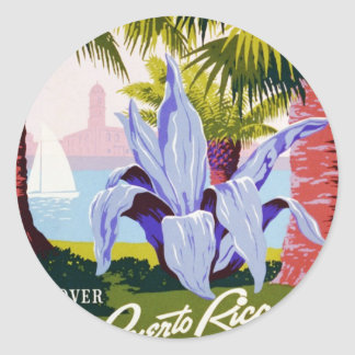 Puerto Rico U.S.A., WPA Tourism and parks poster Classic Round Sticker