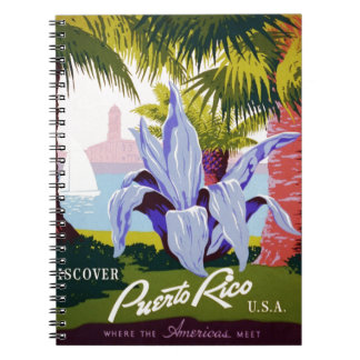Puerto Rico U.S.A., WPA Tourism and parks poster Spiral Note Book