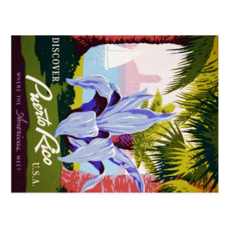 Puerto Rico U.S.A., WPA Tourism and parks poster Postcards
