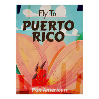 Puerto Rico Vintage Flower Travel Poster
