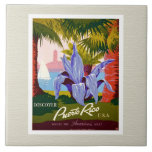 "Puerto Rico Vintage Tile<br><div class=""desc"">Puerto Rico vintage &quot;Discover&quot; poster enhanced,  framed in white with cream background.</div>"