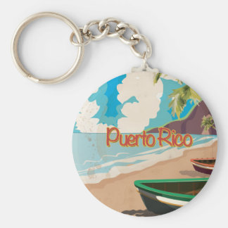 Puerto Rico Vintage Travel Poster Keychain