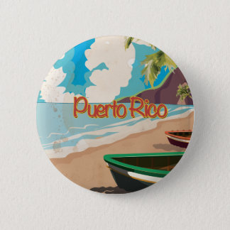 Puerto Rico Vintage Travel Poster Pinback Button