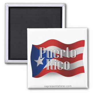 Puerto Rico Waving Flag 2 Inch Square Magnet