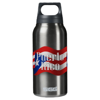 Puerto Rico Waving Flag Insulated Water Bottle