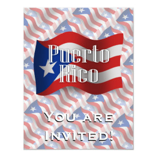 Puerto Rico Waving Flag Personalized Invitations