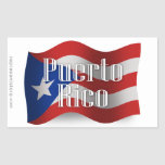 Puerto Rico Waving Flag Rectangle Stickers