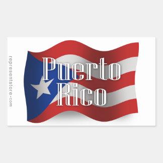 Puerto Rico Waving Flag Rectangular Sticker