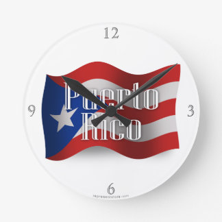 Puerto Rico Waving Flag Round Clock