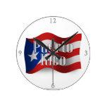 Puerto Rico Waving Flag Round Wall Clocks